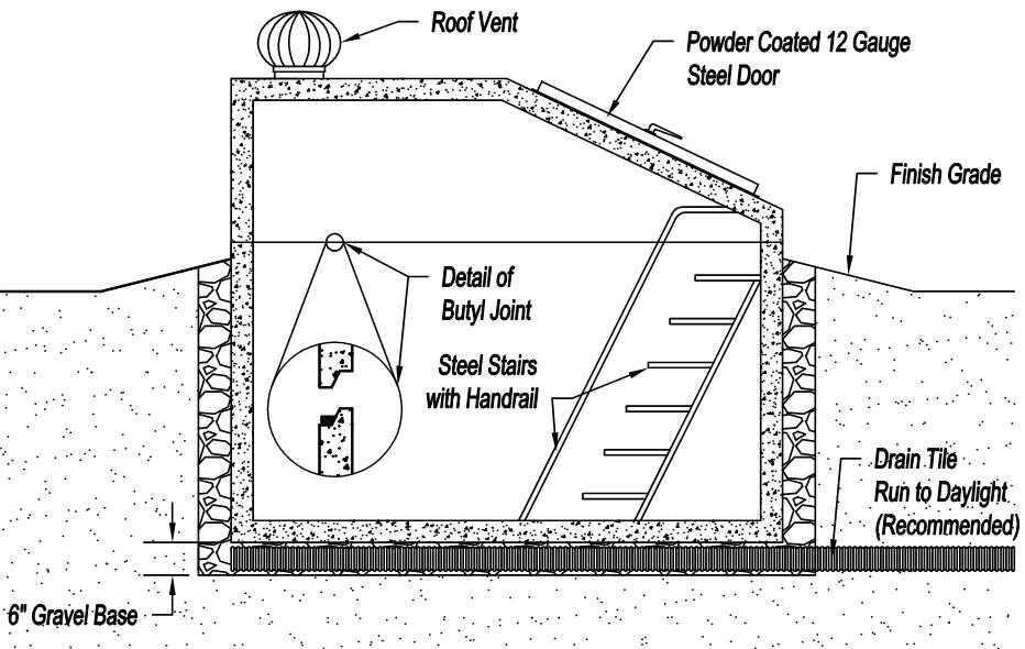 precast storm shelter diagram